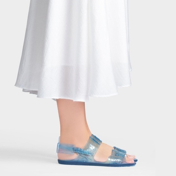 Offwhite Blue Ziptie Jelly Sandals